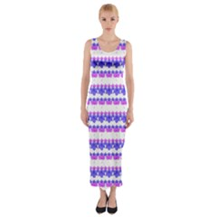 Floral Stripes Pattern Print Fitted Maxi Dress