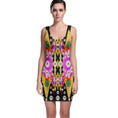 Flowers Above And Under The Peaceful Sky Sleeveless Bodycon Dress