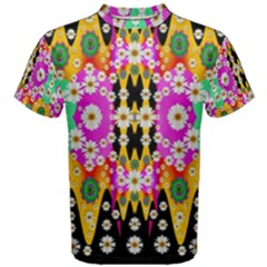 Flowers Above And Under The Peaceful Sky Men s Cotton Tee