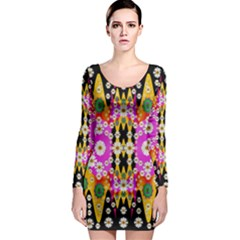Flowers Above And Under The Peaceful Sky Long Sleeve Bodycon Dress