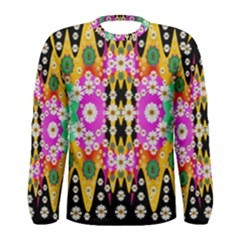 Flowers Above And Under The Peaceful Sky Men s Long Sleeve Tee