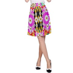 Flowers Above And Under The Peaceful Sky A Line Skirt