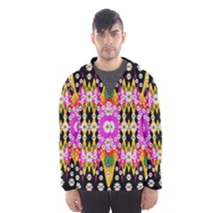 Flowers Above And Under The Peaceful Sky Hooded Wind Breaker (men)