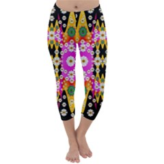 Flowers Above And Under The Peaceful Sky Capri Winter Leggings