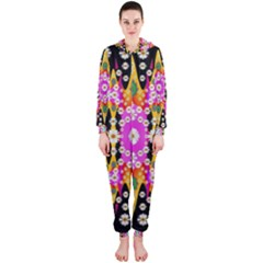 Flowers Above And Under The Peaceful Sky Hooded Jumpsuit (Ladies)