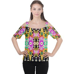 Flowers Above And Under The Peaceful Sky Women s Cutout Shoulder Tee