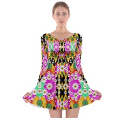 Flowers Above And Under The Peaceful Sky Long Sleeve Skater Dress