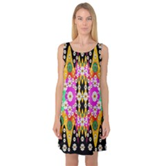 Flowers Above And Under The Peaceful Sky Sleeveless Satin Nightdress