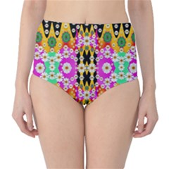 Flowers Above And Under The Peaceful Sky High-Waist Bikini Bottoms
