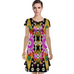 Flowers Above And Under The Peaceful Sky Cap Sleeve Nightdress