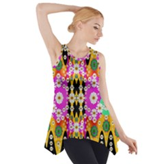 Flowers Above And Under The Peaceful Sky Side Drop Tank Tunic