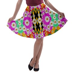Flowers Above And Under The Peaceful Sky A Line Skater Skirt