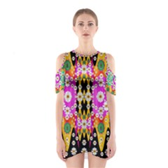 Flowers Above And Under The Peaceful Sky Cutout Shoulder Dress