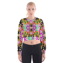 Flowers Above And Under The Peaceful Sky Women s Cropped Sweatshirt