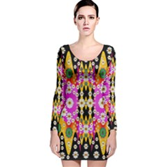 Flowers Above And Under The Peaceful Sky Long Sleeve Velvet Bodycon Dress