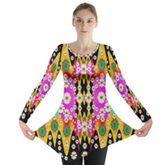 Flowers Above And Under The Peaceful Sky Long Sleeve Tunic