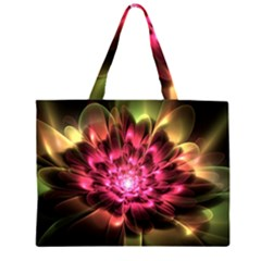 Red Peony Zipper Large Tote Bag