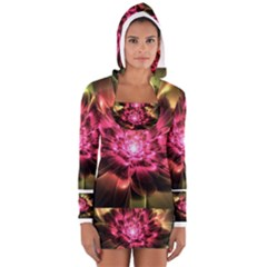 Red Peony Women s Long Sleeve Hooded T Shirt