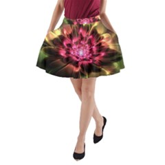 Red Peony A Line Pocket Skirt