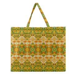 Boho Stylized Floral Stripes Zipper Large Tote Bag