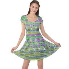 Colorful Zigzag Pattern Cap Sleeve Dresses