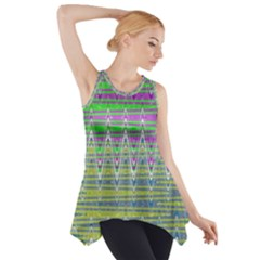Colorful Zigzag Pattern Side Drop Tank Tunic