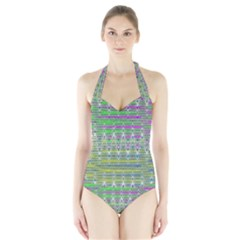 Colorful Zigzag Pattern Women s Halter One Piece Swimsuit