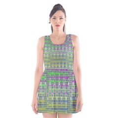 Colorful Zigzag Pattern Scoop Neck Skater Dress