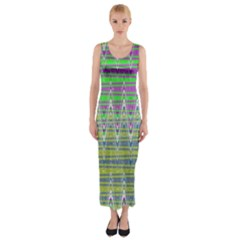 Colorful Zigzag Pattern Fitted Maxi Dress