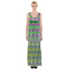 Colorful Zigzag Pattern Maxi Thigh Split Dress