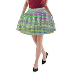 Colorful Zigzag Pattern A Line Pocket Skirt