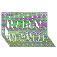 Colorful Zigzag Pattern Happy New Year 3d Greeting Card (8x4)