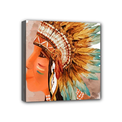 Native American Young Indian Shief Mini Canvas 4  X 4