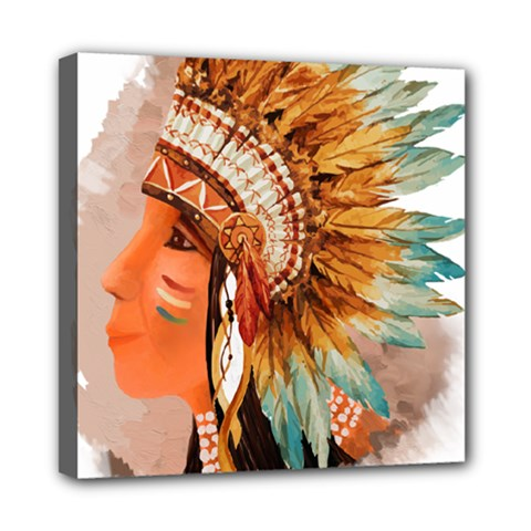 Native American Young Indian Shief Mini Canvas 8  x 8