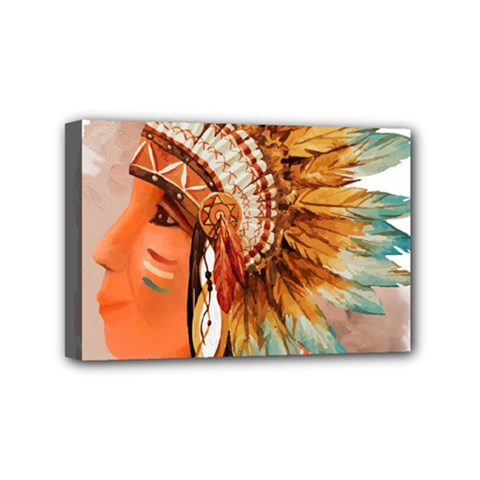 Native American Young Indian Shief Mini Canvas 6  X 4