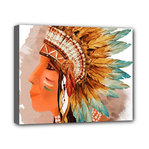 Native American Young Indian Shief Canvas 10  x 8