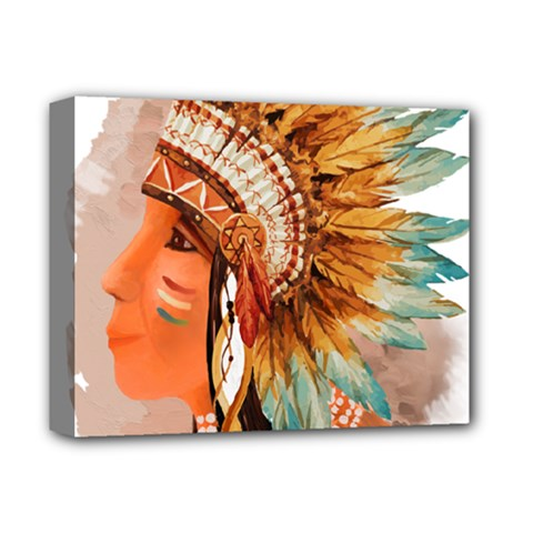 Native American Young Indian Shief Deluxe Canvas 14  X 11