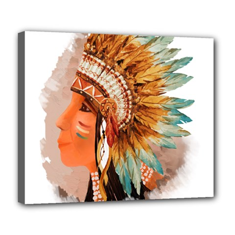 Native American Young Indian Shief Deluxe Canvas 24  x 20