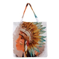 Native American Young Indian Shief Grocery Tote Bag