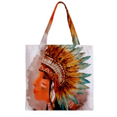 Native American Young Indian Shief Zipper Grocery Tote Bag