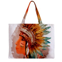Native American Young Indian Shief Zipper Mini Tote Bag