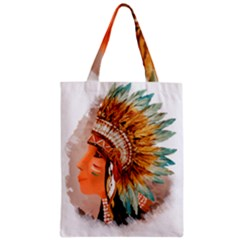 Native American Young Indian Shief Zipper Classic Tote Bag