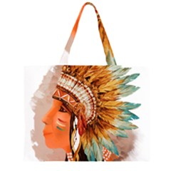 Native American Young Indian Shief Large Tote Bag