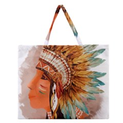 Native American Young Indian Shief Zipper Large Tote Bag