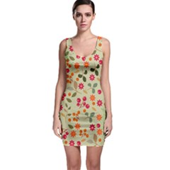Elegant Floral Seamless Pattern Sleeveless Bodycon Dress