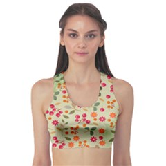Elegant Floral Seamless Pattern Sports Bra