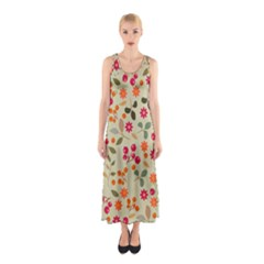 Elegant Floral Seamless Pattern Full Print Maxi Dress