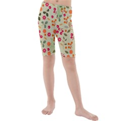 Elegant Floral Seamless Pattern Kid s Mid Length Swim Shorts