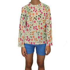 Elegant Floral Seamless Pattern Kid s Long Sleeve Swimwear