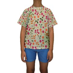 Elegant Floral Seamless Pattern Kid s Short Sleeve Swimwear
